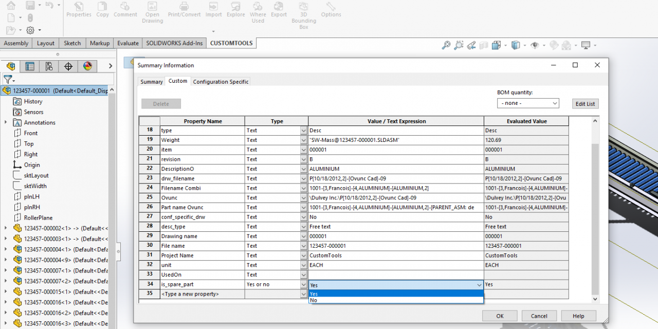 Quick Tip: Use SOLIDWORKS properties to manage Spare Part BOM
